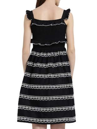 black cotton a-line dress - 15019190 - Standard Image - 3