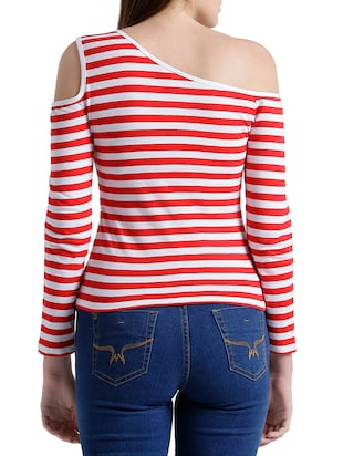 red cotton striped single cold shoulder top - 15019695 - Standard Image - 3