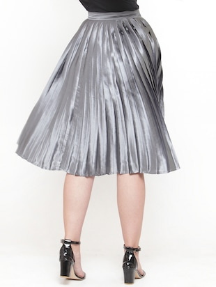 silver solid pleated skirt - 15019750 - Standard Image - 3