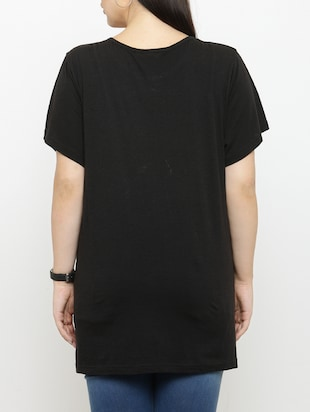 black cotton plus tee - 15019784 - Standard Image - 3