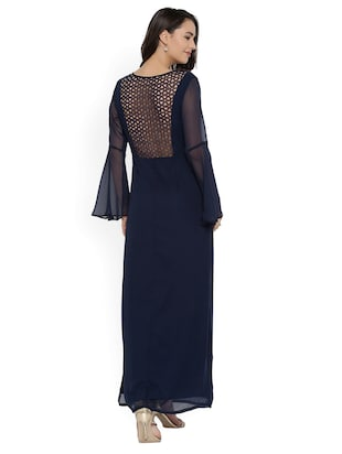 navy blue solid maxi dress - 15020358 - Standard Image - 3