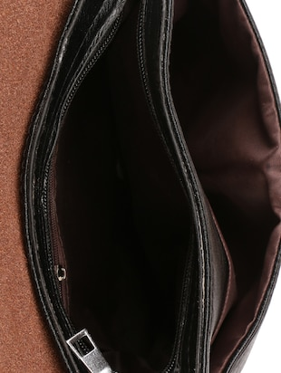 black leatherette  regular sling bag - 15020891 - Standard Image - 3