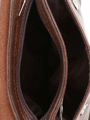 brown leatherette  regular sling bag - 15020892 - Standard Image - 3