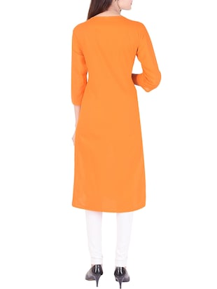 orange cotton straight kurta - 15021833 - Standard Image - 3
