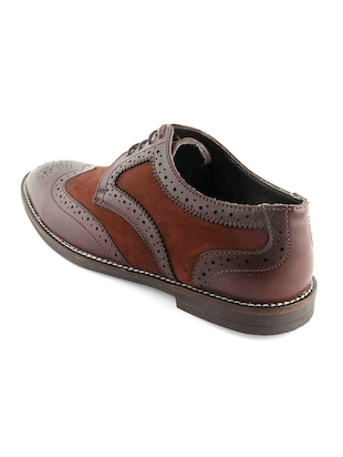 brown Leatherette lace-up derby - 15022925 - Standard Image - 3