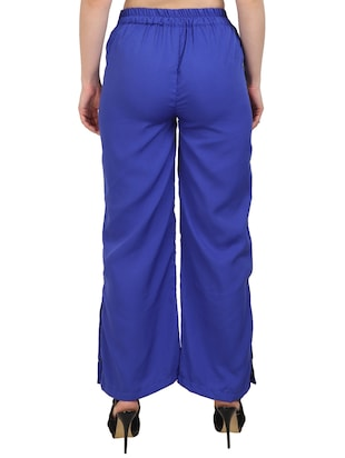 blue crepe palazzos - 15023438 - Standard Image - 3