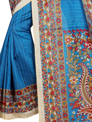 blue cotton printed saree with blouse - 15023464 - Standard Image - 3