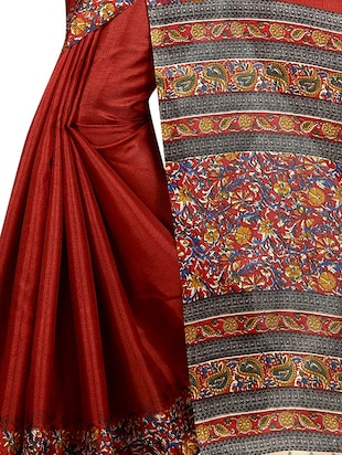 red cotton printed saree with blouse - 15023501 - Standard Image - 3