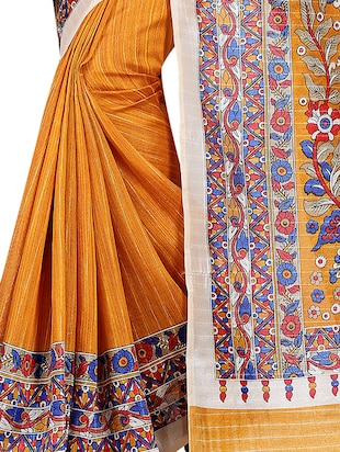 yellow cotton silk printed saree with blouse - 15023515 - Standard Image - 3