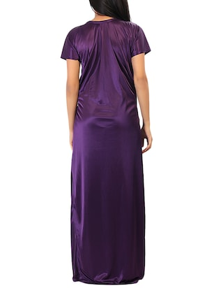 purple solid robe with nighty - 15023775 - Standard Image - 3