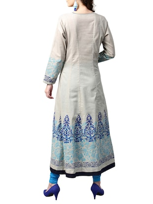 white cotton anarkali kurta - 15023860 - Standard Image - 3