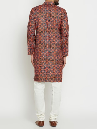multi colored linen long kurta - 15024125 - Standard Image - 3