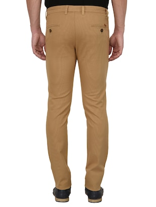 brown cotton blend chinos - 15024915 - Standard Image - 3
