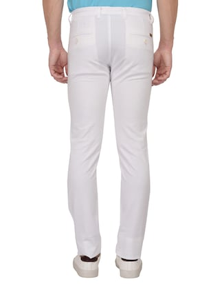 white cotton blend chinos - 15024916 - Standard Image - 3