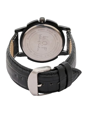LOF Black Round Dial Leather Strap Men's Analog watch  - LW1004 - 15025094 - Standard Image - 3