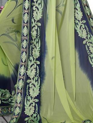 green chiffon embroidered saree with blouse - 15025207 - Standard Image - 3