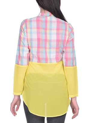 pink checkered cotton asymmetric shirt - 15025224 - Standard Image - 3