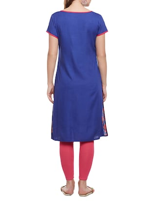 blue cotton straight kurta - 15025568 - Standard Image - 3