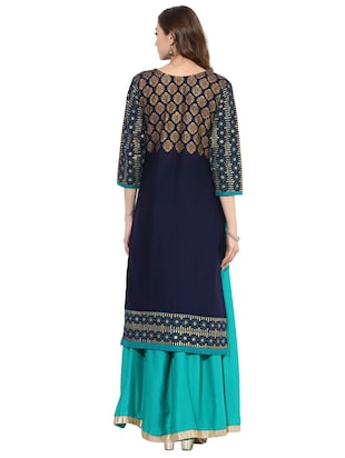 blue cotton straight kurta - 15026085 - Standard Image - 3