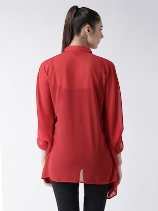 solid red georgette shirt - 15026141 - Standard Image - 3