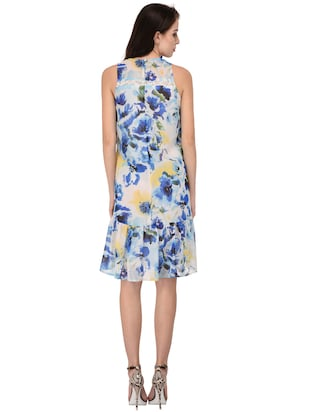 light blue floral drop waist dress - 15026739 - Standard Image - 3