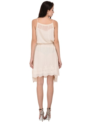 cream solid blouson dress - 15026746 - Standard Image - 3
