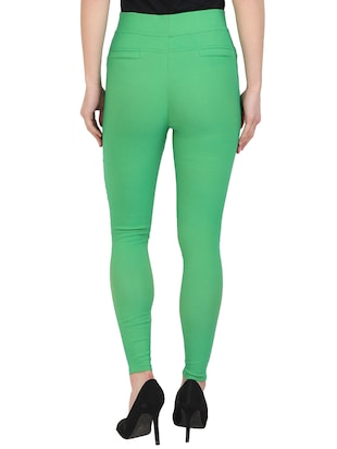 green cotton lycra jeggings - 15027531 - Standard Image - 3