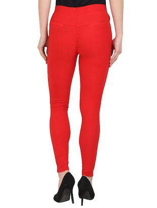 red cotton lycra jeggings - 15027538 - Standard Image - 3