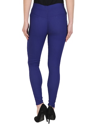 blue cotton lycra jeggings - 15027542 - Standard Image - 3