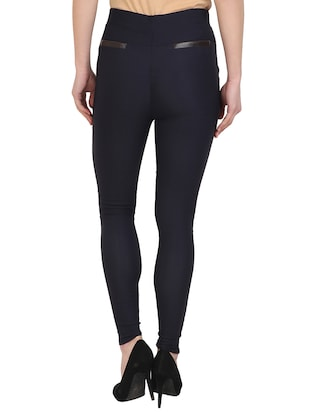 navy blue cotton lycra jegging - 15027548 - Standard Image - 3