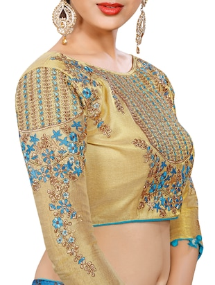 sky blue georgette bordered saree with blouse - 15027586 - Standard Image - 3