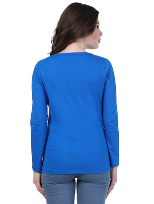 blue solid full sleeved top - 15027673 - Standard Image - 3