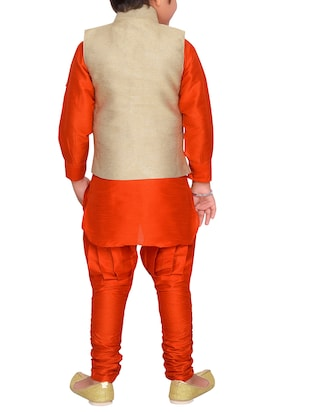 orange silk blend kurta pyjama set with nehru jacket - 15028270 - Standard Image - 3