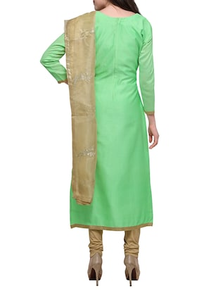 green embroidered unstitched suit - 15029082 - Standard Image - 3
