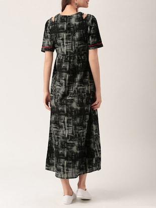 black printed cotton maxi dress - 15030226 - Standard Image - 3
