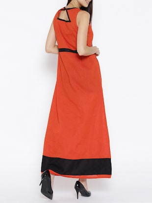 orange printed cotton maxi dress - 15030235 - Standard Image - 3
