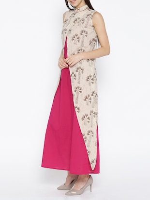 pink cotton maxi dress with shrug - 15030236 - Standard Image - 3