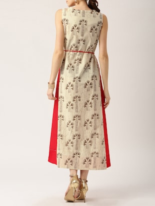 beige printed cotton maxi dress - 15030245 - Standard Image - 3
