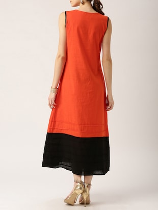 solid orange cotton maxi dress - 15030261 - Standard Image - 3