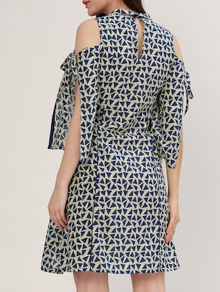 blue printed cotton a-line dress - 15030280 - Standard Image - 3