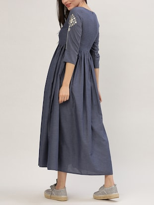 blue cotton maxi dress - 15030286 - Standard Image - 3