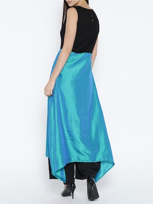 blue cotton high slit kurta - 15030366 - Standard Image - 3