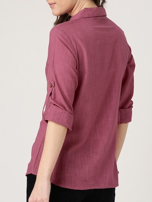 solid pink cotton shirt - 15030388 - Standard Image - 3