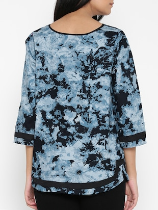 blue printed cotton top - 15030439 - Standard Image - 3