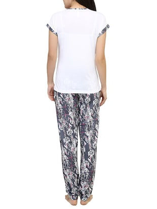 Multicolored printed nightwear pajama set - 15030634 - Standard Image - 3