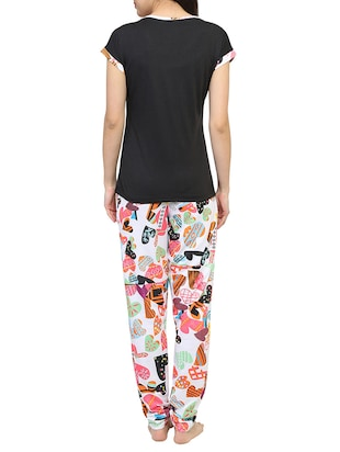 Multicolored printed nightwear pajama set - 15030636 - Standard Image - 3