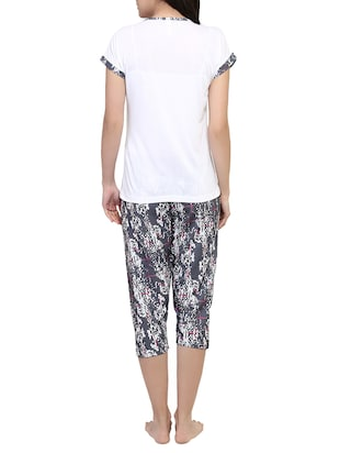 multicolored printed capri nightwear set - 15030653 - Standard Image - 3