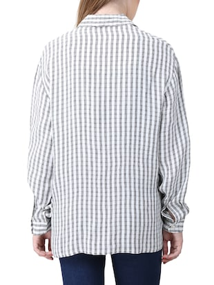 white viscose checkered shirt - 15030810 - Standard Image - 3