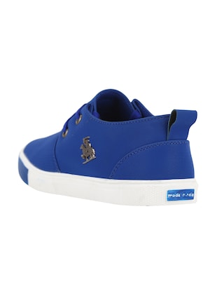 blue leatherette lace up sneaker - 15030839 - Standard Image - 3