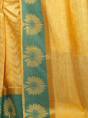 yellow art silk woven saree with blouse - 15032833 - Standard Image - 3